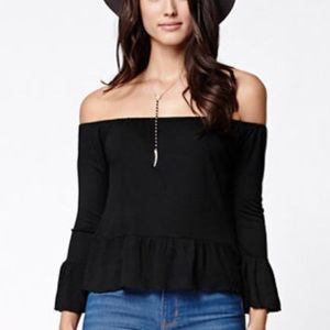 PACSUN Off the shoulder long sleeve crop top